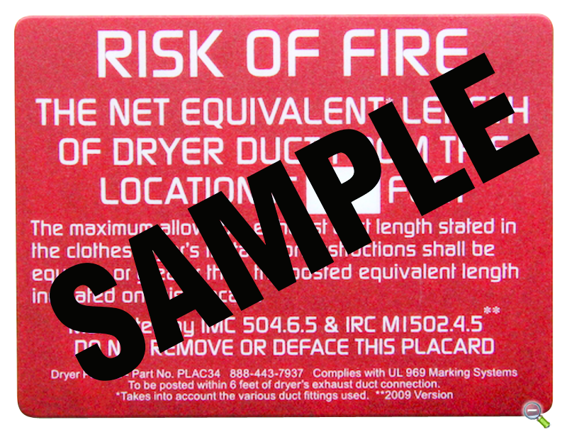 Dryer Exhaust Length Notification | Permanent Placard